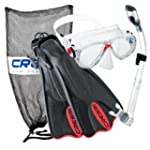 Cressi Mask Fin Snorkel Set (Red, Lar...