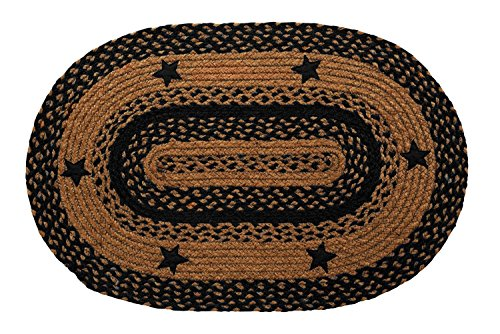 IHF Home Decor New Area Braided Rug Star Black Design Carpet Accent Oval Rugs 100% Jute Fiber 27 x 48 Inches