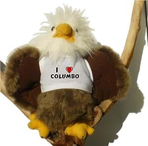 Plush Bald Eagle Toy with I love Columbo t-shirt (first name/surname/nickname)