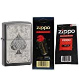 Zippo 28323 Classic Ace Filigree Black Ice Windproof Lighter with One Flint Card and One Wick Card