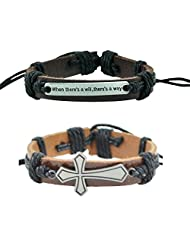 "Alpha Man ""When There Is A Will There Is A Way And Faith Ancient Cross"" Black Thread-Woven Faux Leather Bracelet..."