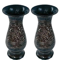 Little India Golden Meenakari Work Flower Vase (Set of 2, Brass,HCF201)