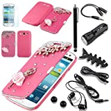 Pandamimi ULAK(TM) 3D Bling Crystal Rhinestone Magnetic Flip Case Cover For Samsung Galaxy S3 III I9300 (GT-I9300/SGH-I747/SPH-L710/SGH-T999/SCH-I535) +10 Accessories - Screen Protector/Cleaning cloth/Application/Headphone/USB Cable/Car Charger/Touch Stylus/Earphone splitter cable (1 in 2 out)/Fishbone Shape Earphone Cord Winder Newest (Rose Pink Lovely Ballerina)