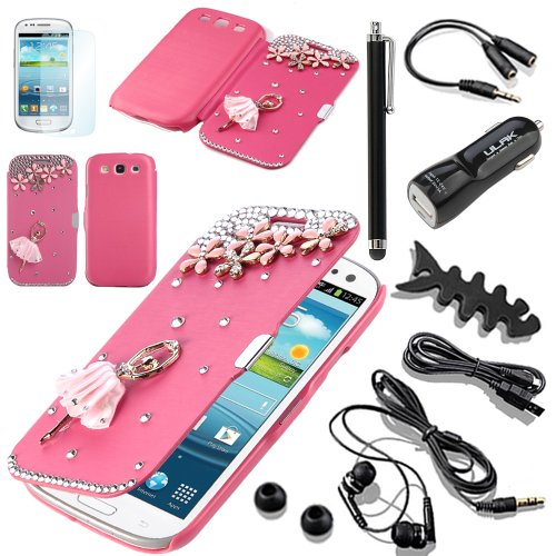 Pandamimi Ulak(Tm) 3D Bling Crystal Rhinestone Magnetic Flip Case Cover For Samsung Galaxy S3 Iii I9300 (Gt-I9300/Sgh-I747/Sph-L710/Sgh-T999/Sch-I535) +10 Accessories - Screen Protector/Cleaning Cloth/Application/Headphone/Usb Cable/Car Charger/Touch Styl