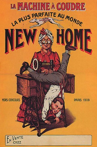SEWING MACHINE NEW HOME PARIS GRANDMA SEWING PANTS BOY FRENCH 16 X 24 IMAGE SIZE VINTAGE POSTER REPRO by WONDERFULITEMS