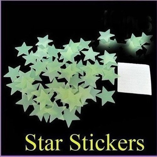 100Pcs/Pack Luminous Stars Noctilucent Decorative Stereoscopic Wall Stickers front-842252