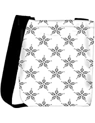 Snoogg Grey Floral Star Designer Womens Carry Around Cross Body Tote Handbag Sling Bags