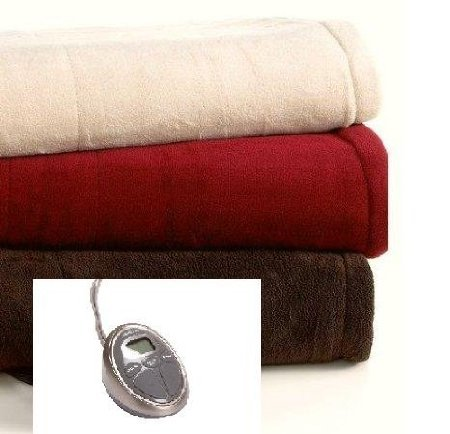 Sunbeam Microplush Heated Blanket Queen Size Chocolate Color With Automatic Heating