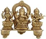 Kapasi Handicrafts Brass Lord Ganesh Laxmi Sarasvati Sitting on Singhasan Idol ( 6.5
