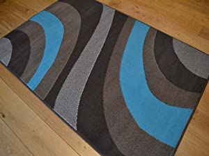Trend Chocolate Brown And Teal Blue Wave Rug. 8 Sizes Available by Rugs Supermarket