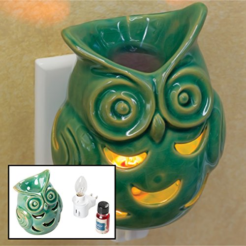 Ceramic Owl Lavender Fragrance Oil Warmer Aroma Odor Diffuser Plug-In Light Lamp