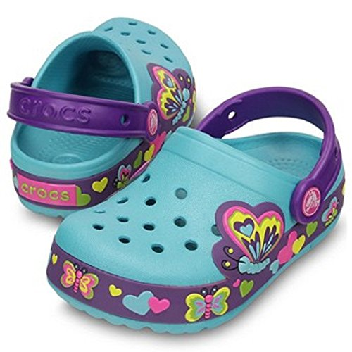 crocs Kids' Butterfly Light-Up Clog (10 M US Toddler, Blue)