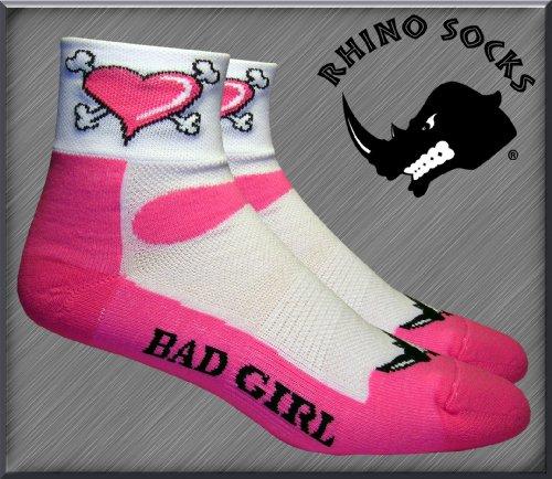SS series, Bad Girl, pink/white, anklet sports cycling biking hiking running socks