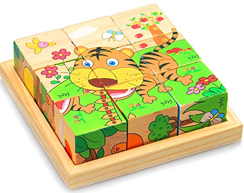VIAHART Six Sided Wooden Cube Puzzle - 1