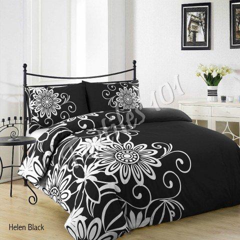 textiles101stampato set copripiumino con federe Set trapunta letto singolo, matrimoniale, king e super king size, Helen Black, Super King