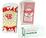 Outside The Box Papers Popcorn Bags, Peanut And Pickle Sacks 24 Each Red, White, Green