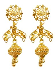 DollsofIndia Pair Of Gold Plated Dangle Earrings - Metal - Golden