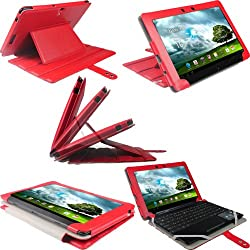 iGadgitz Red 'Guardian' Genuine Leather Case Cover for Asus Eee Pad Transformer & Keyboard Dock TF300 TF300T 10.1