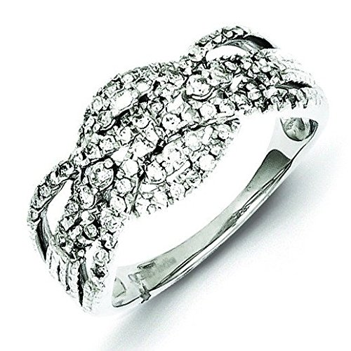 Sterling Silver Fancy Twist Diamond Ring - Ring Size Options Range: L to P