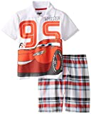 Disney Little Boys' Cars  Polo Woven Plaid Short Set