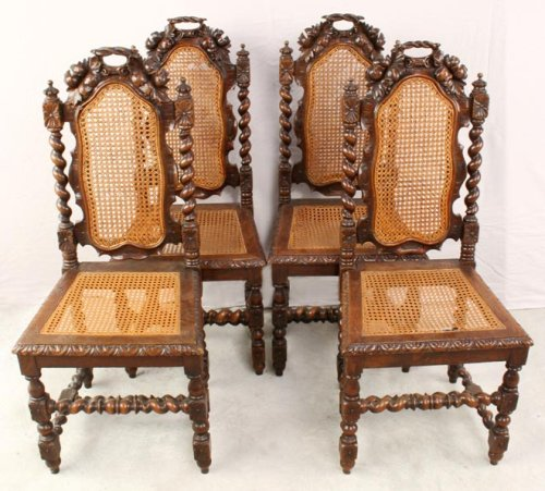 Set 4 Antique French Barley Twist Hunting Dining Chairs