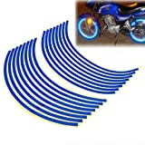 "16-18"" Blue Wheel Rim Stripe Reflective Decal Tape Sticker for Car Motorcycle Cycling Bike Bicycle"