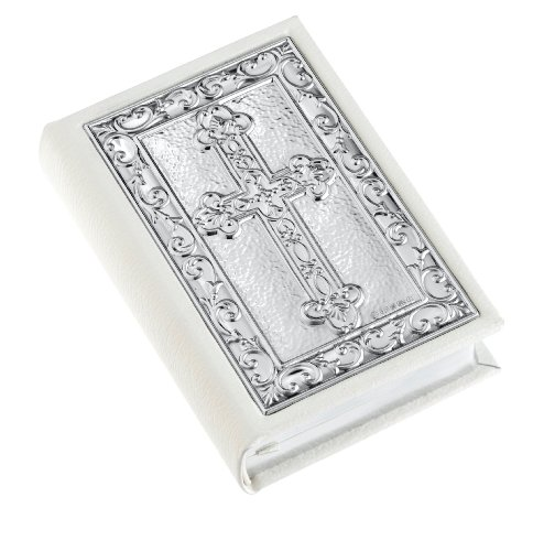 White Leather Gem Bible with Decorative Sterling Silver Cross Cover
