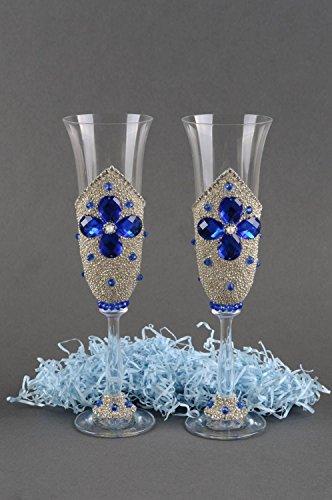 Flûtes à champagne fait main Vaisselle en verre Idée cadeau 2 pcs avec strass