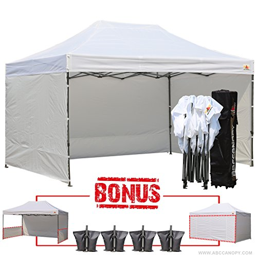 AbcCanopy 10 X 15 Ez Pop up Canopy Tent Commercial Instant Gazebos with 6 Removable Sides and Roller Bag and 4x Weight Bag (10x20 Canopy Commercial compare prices)