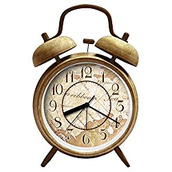 ANG® 4 Silent Quartz Analog Quiet Non-ticking Retro Vintage Classic Bedside Twin Bell Alarm Clock with Loud Alarm and Nightlight