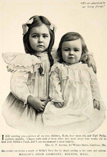 1903 Ad Mellins Food Ruth Carl Philip Austin Children Baby Infant Gardiner Maine - Original Print Ad
