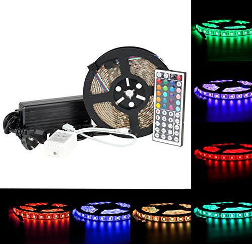 EPBOWPT®5-Meter Waterproof Flexible Color Changing RGB SMD5050 300LEDs Rope Light Strip Kit with 44Keys Remote and 12v 5a Power Supply Adaptor for Holiday, Party, Home Decor