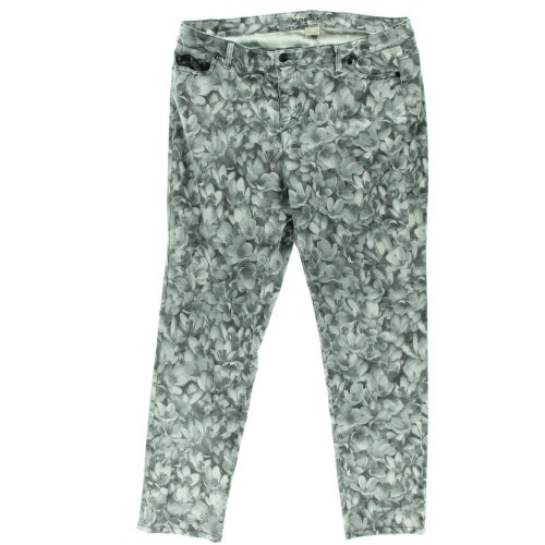 Michael Kors Womens Plus Denim Floral Print Straight Leg Jeans Black 20W