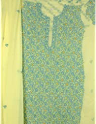 Exotic India Yellow Salwar Kameez Fabric From Lucknow With All Over Chi - Yellow
