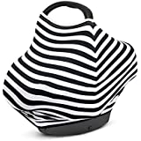 MyM Stretchy Multi-use Baby Car Seat Canopy, Nursing Cover, Shopping Cart Cover 4-in-1 Unisex (Black And White)