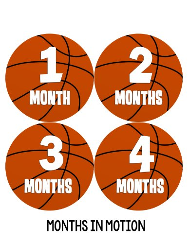 Months in Motion 225 Baby Month Stickers for Newborn Boy Basketball