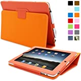 iPad 1 Case, Snugg™ - Cover with Flip Stand & Lifetime Guarantee (Orange Leather) for Apple iPad 1