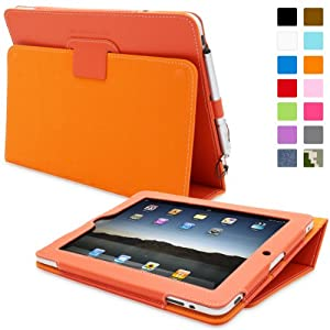 Snugg® iPad 1 Case - Cover with Flip Stand & Lifetime Guarantee (Orange Leather) for Apple iPad 1