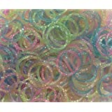 Rainbow Loom Refill Bands, Pack of 600 Glitter Style 1 Rubber Bands with 25 S-Clips