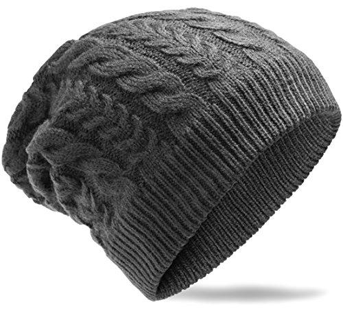 Grin&Bear weiches unisex Beanie Mütze in Grobstrick -8- Design dunkelgrau M5