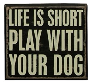 Primitives By Kathy Box Sign, 5 by 4.5-Inch, Play with Your Dog by Primitives by Kathy