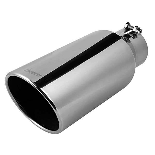 """6/"""" Outlet Black Diesel Stainless Steel Bolt On Exhaust Tip 4/"""" Inlet 18/"""" Long"""