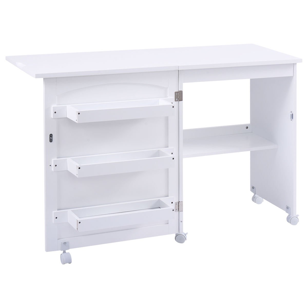 Giantex White Folding Swing Craft Table Shelves Storage