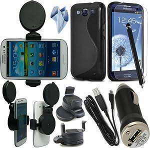 BAAS® Samsung Galaxy S3 i9300 Support Voiture Ventouse pour Fixation sur Pare Brise Avec 360 ° Degré rotation fonction+ noir Housse Etui en Silicone Gel + Micro USB câble de données + USB voiture chargeur Adaptateur + Films de protection écran + Stylet