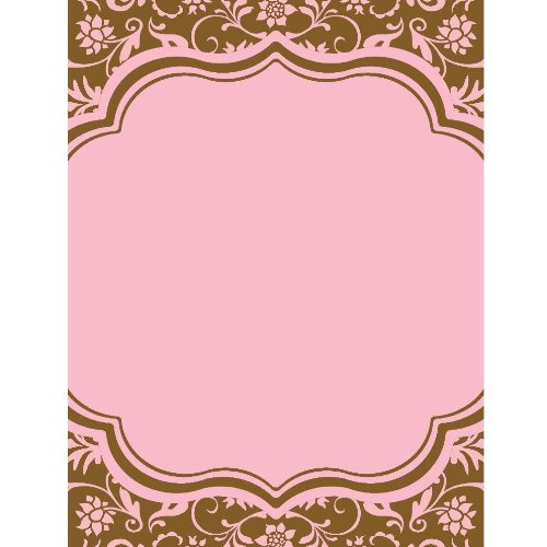 Bella Cupcake Couture 10-Pack Hannah Invitations, 5 By 7-Inch, Floral Pink And Brown front-424766