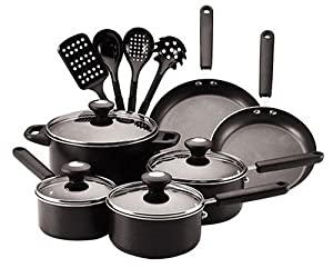 Farberware Clear Benefits 14-Piece Cookware Set, Black