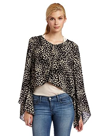 Winter Kate Women's Long-Sleeve Roque Cropped Bed Jacket, Black Dots Print, X-Small