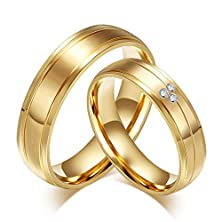 buy Rowag 6Mm Men Gold Plated Titanium Stainless Steel Couple Rings For Him And Her Women Cubic Zirconia Cz Rhinestones Inlaid Wedding Promise Engagement Bands
