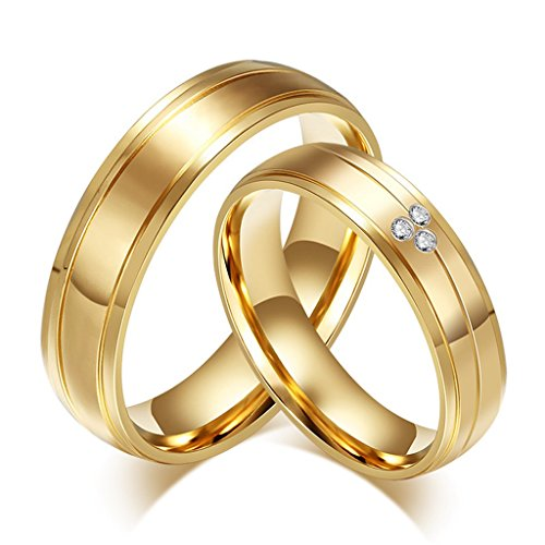 ROWAG 6mm 18k Gold Plated Mens Titanium Stainless Steel Couple Wedding Bands for Him and Her Womens Cubic Zirconia CZ Promise Engagement Rings (Dr Who Engagement Ring compare prices)