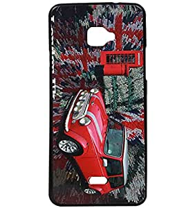 Red Car Exclusive Rubberised Back Case Cover For InFocus M350